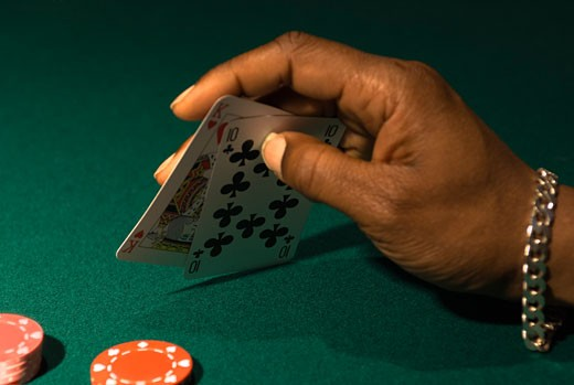 Stock Photo: 1828R-18716 Playing Poker