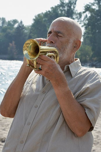Man Playing Trumpet    : Stock Photo