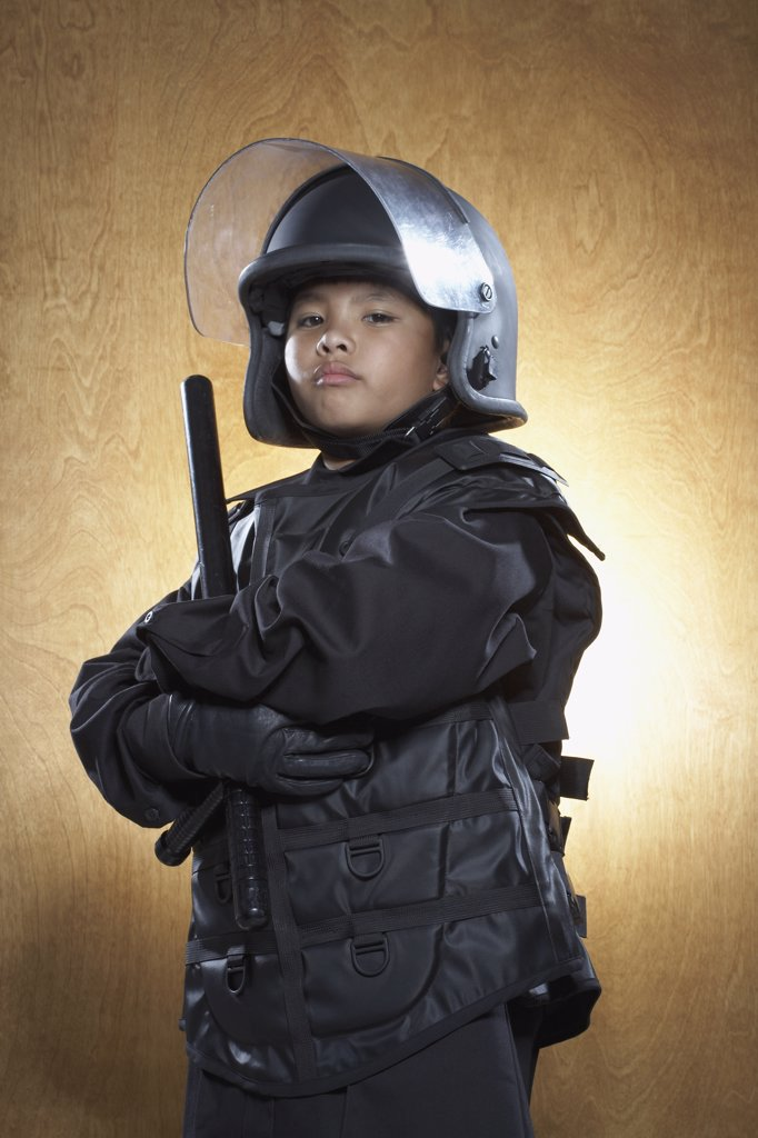 Boy Dressed as Policeman    : Stock Photo