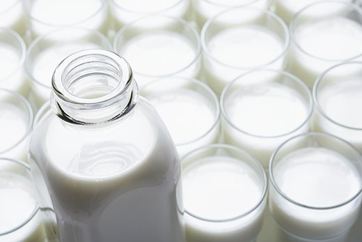 Stock Photo: 1828R-19630 Glasses and Bottle of Milk