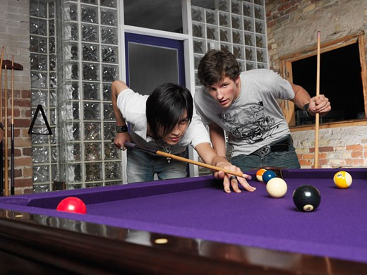 Men Playing Pool    : Stock Photo