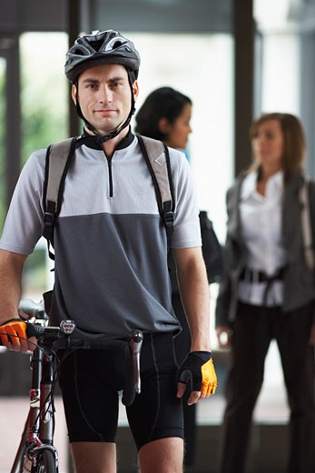 Stock Photo: 1828R-19973 Portrait of Bike Courier