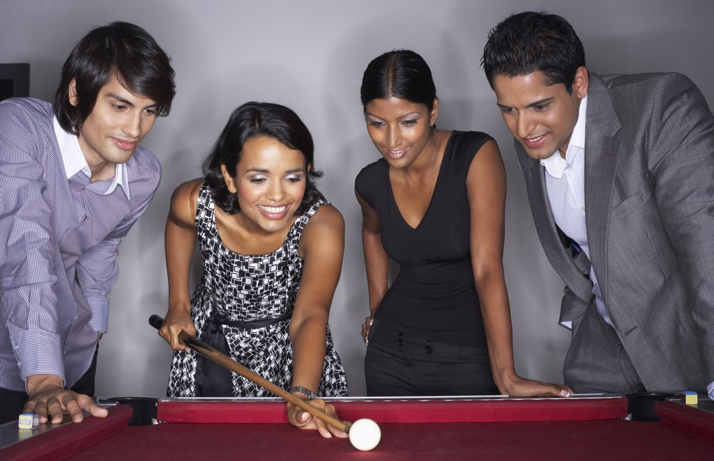 Business People Playing Pool    : Stock Photo
