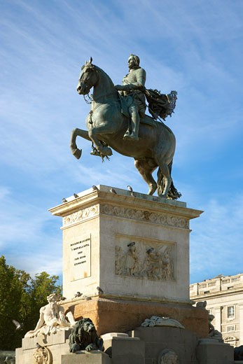 Stock Photo: 1828R-20486 Statue of Philip IV, Plaza de Oriente, Madrid, Spain