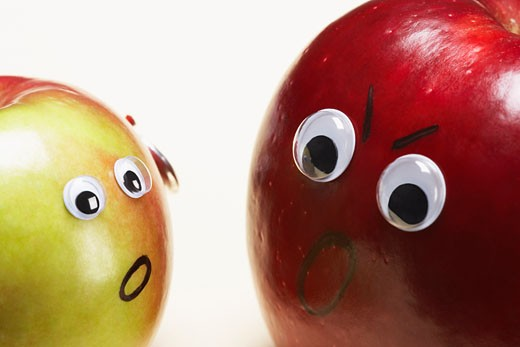 Stock Photo: 1828R-20730 Apples Fighting