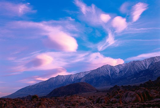 Stock Photo: 1828R-2108 Mountains at Sunset Alabama Hills, Sierra Nevada Near Lone Pine, California, USA
