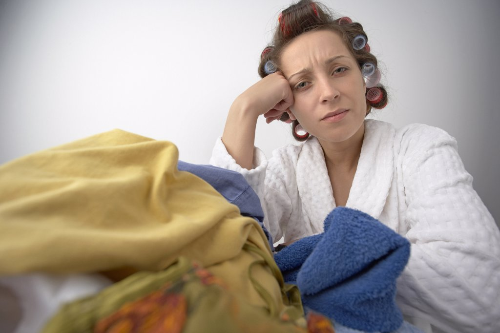 Stock Photo: 1828R-21533 Woman with Laundry