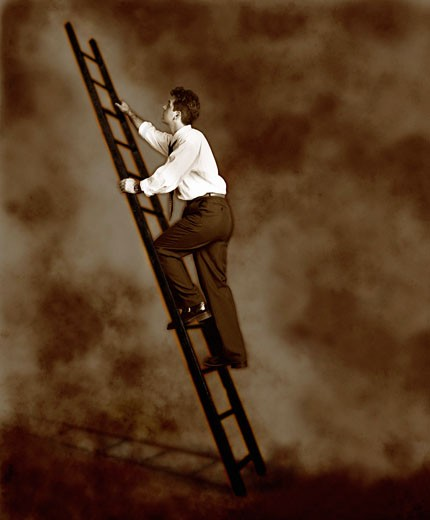 Stock Photo: 1828R-2201 Businessman Climbing Ladder