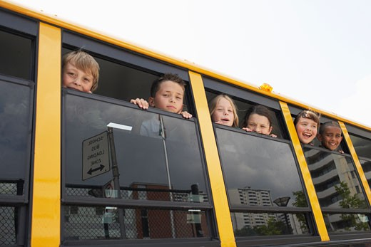 Stock Photo: 1828R-22420 Children in School Bus