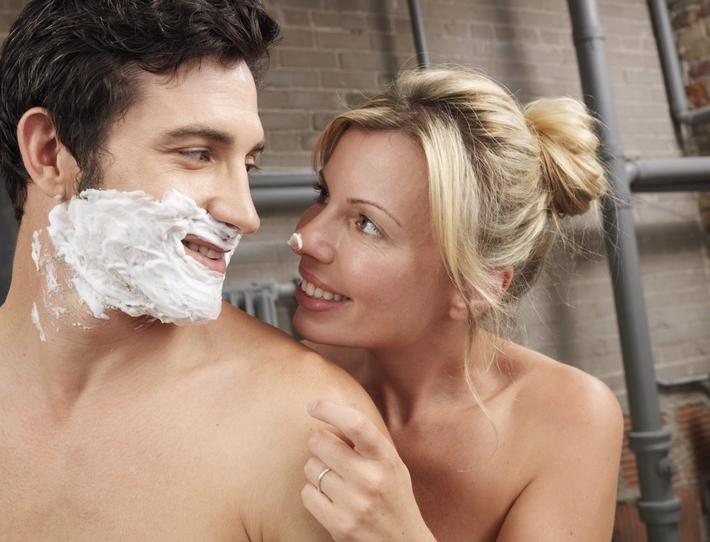 Stock Photo: 1828R-22532 Woman Watching Man Shave
