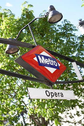 Stock Photo: 1828R-22612 Subway Sign, Madrid, Spain
