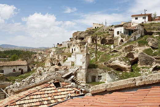 Stock Photo: 1828R-22645 Houses on Hillside, Avanos, Cappadoccia, Turkey