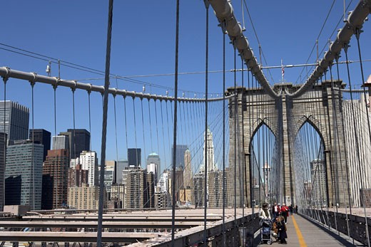 Stock Photo: 1828R-22746 People Walking along Brooklyn Bridge, New York City, New York, USA