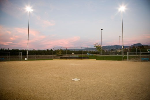Stock Photo: 1828R-23724 Baseball Diamond, Kelowna, British Columbia, Canada