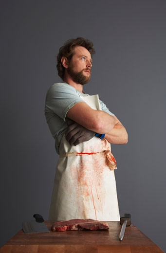 Stock Photo: 1828R-23786 Portrait of Butcher