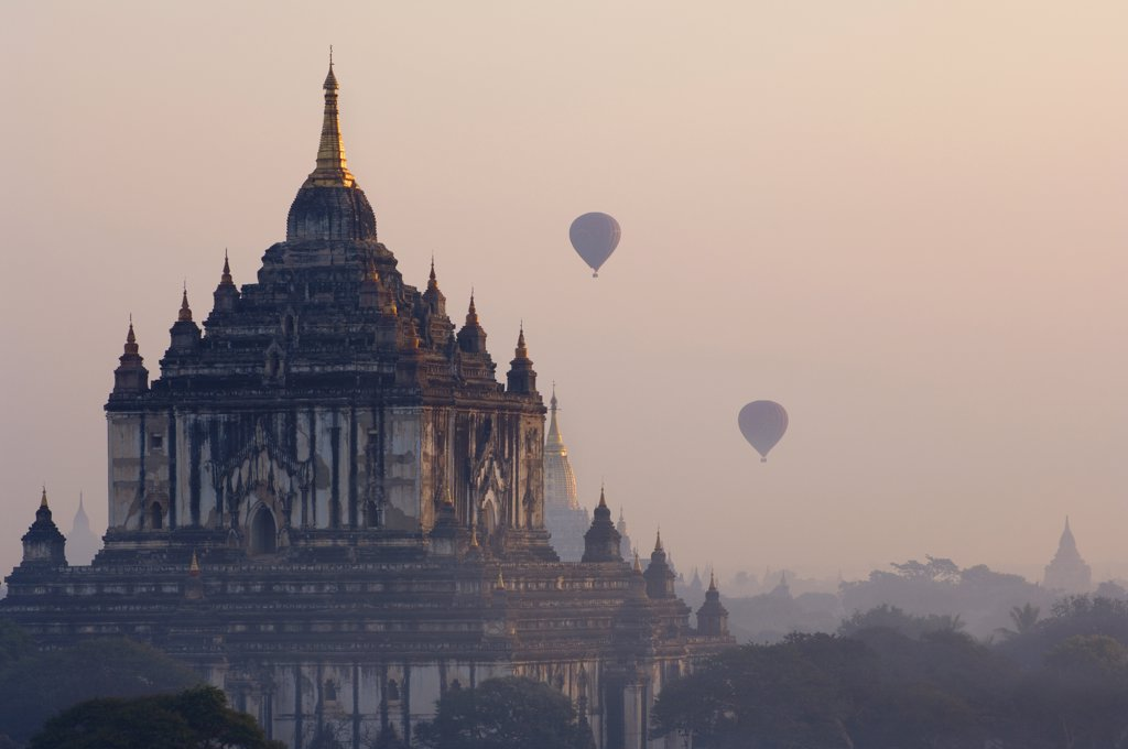 Hot Air Balloons Over Bagan, Myanmar    : Stock Photo