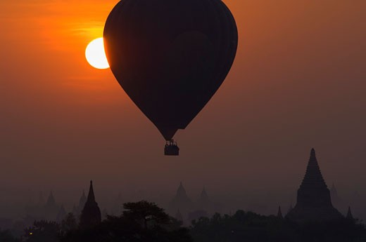 Hot Air Balloon Over Bagan, Myanmar    : Stock Photo