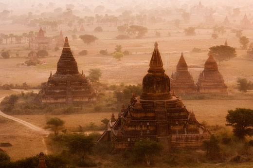 Stock Photo: 1828R-24150 Aerial View of Bagan, Myanmar