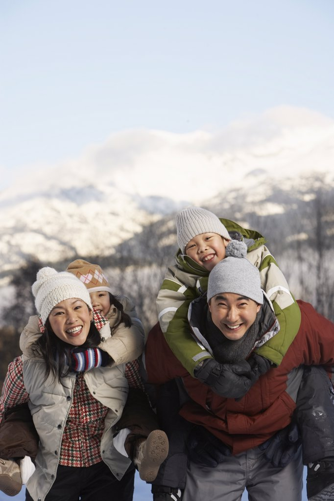 Stock Photo: 1828R-24265 Portrait of Family in Winter, Whistler, British Columbia, Canada