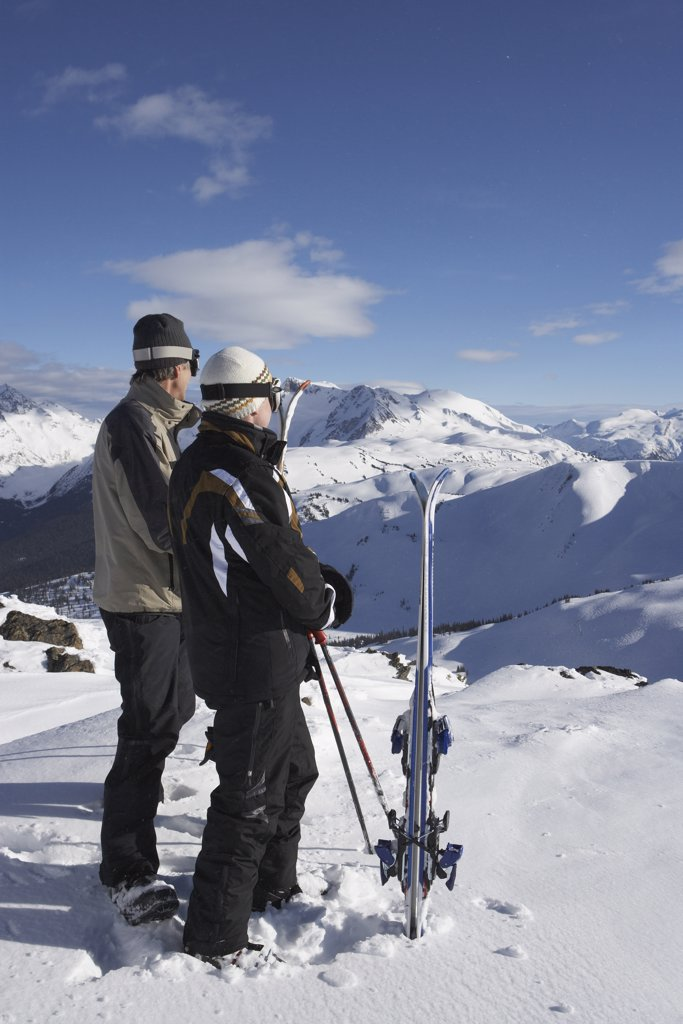 Stock Photo: 1828R-24342 Two Men on Top of Ski Hill, Whislter, BC, Canada