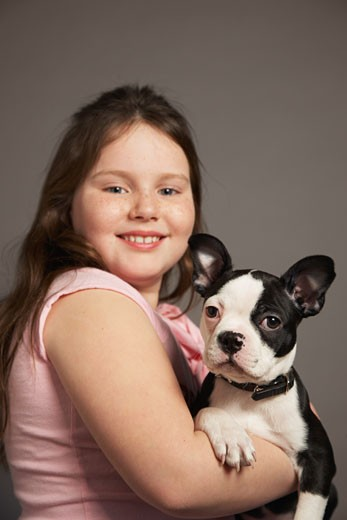 Stock Photo: 1828R-24917 Portrait of Girl with Dog
