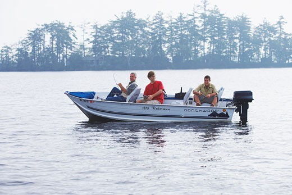 Stock Photo: 1828R-24954 Man and Teenagers Fishing, Belgrade Lakes, Maine, USA