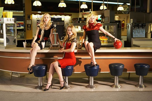 Women in Retro Diner    : Stock Photo