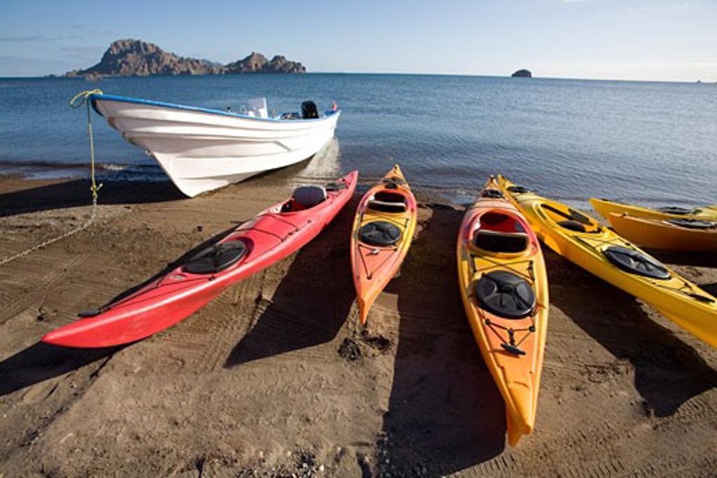 Stock Photo: 1828R-25736 Beached Kayaks, Sea of Cortez, Baja, Mexico