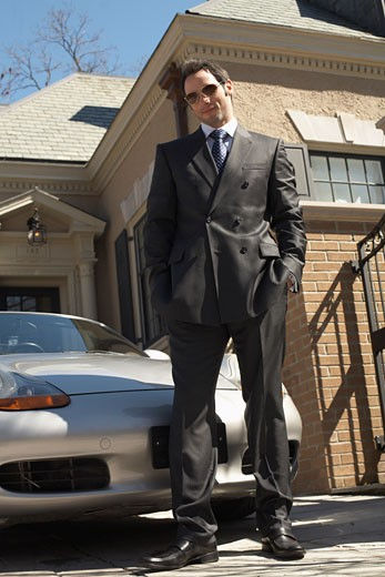 Stock Photo: 1828R-25751 Businessman in Driveway