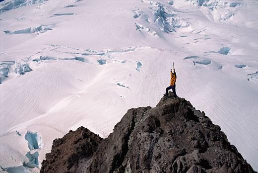 Stock Photo: 1828R-2579 Mountaineering Mount Rainier, Near Seattle Washington, USA