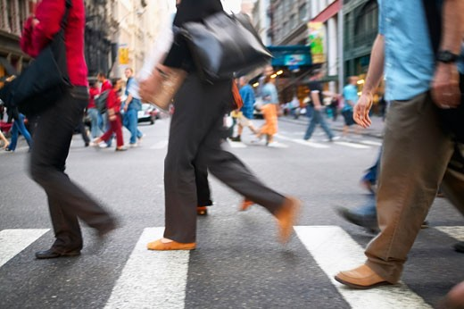 Stock Photo: 1828R-26052 Pedestrians Crossing the Street, Soho, New York, USA