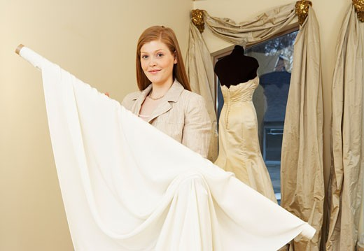 Portrait of Woman in Bridal Boutique    : Stock Photo