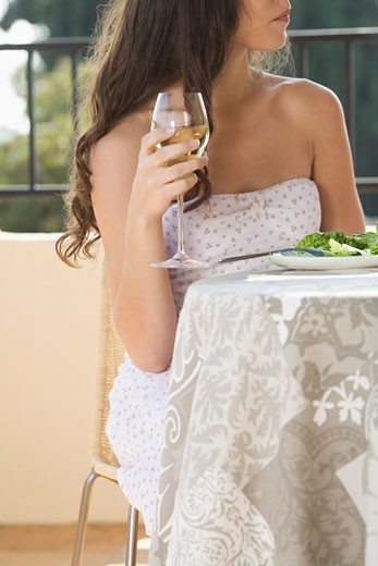 Woman Drinking Wine    : Stock Photo