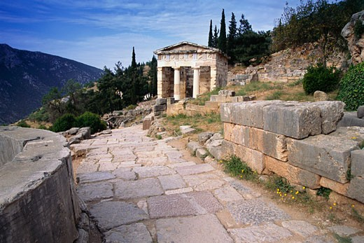 Stock Photo: 1828R-26281 Treasury of the Athenians, Delphi, Greece