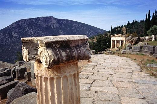Stock Photo: 1828R-26282 Treasury of the Athenians, Delphi, Greece