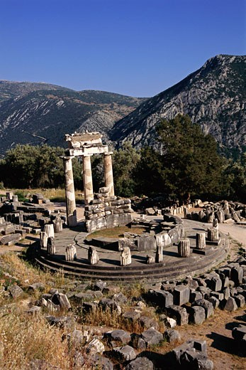 Stock Photo: 1828R-26283 Sanctuary of Athena Pronaia, Tholos, Delphi, Greece