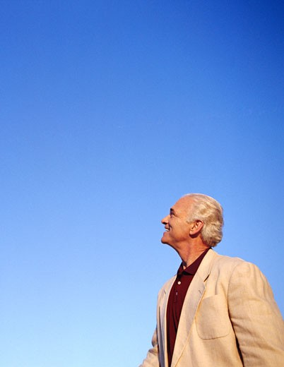 Portrait of Man Looking up to the Sky    : Stock Photo