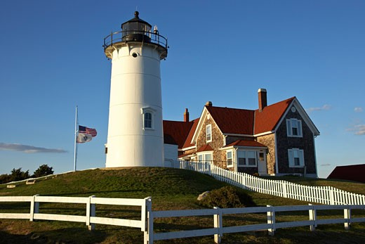 Stock Photo: 1828R-26664 Nobska Lighthouse, Woods Hole, Falmouth, Cape Cod, Massachusetts, USA