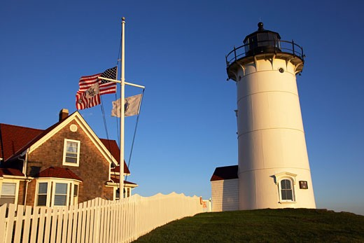 Stock Photo: 1828R-26665 Nobska Lighthouse, Woods Hole, Falmouth, Cape Cod, Massachusetts, USA