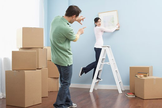 Couple Moving into New Home : Stock Photo