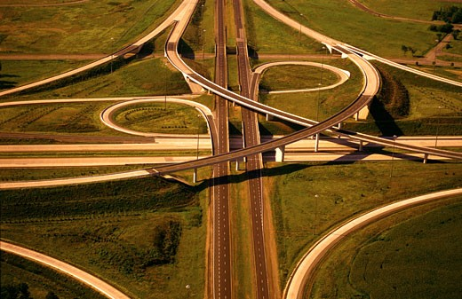 Stock Photo: 1828R-2680 Aerial View of Highway Cloverleaf