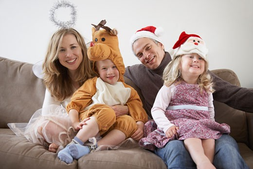 Stock Photo: 1828R-27106 Portrait of Family Wearing Costumes