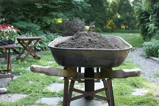 Stock Photo: 1828R-27337 Wheelbarrow Filled with Dirt