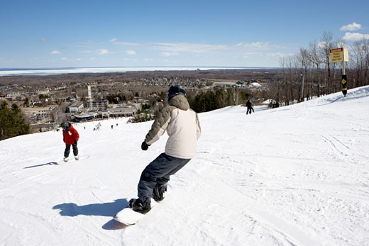 Boy Snowboarding, Blue Mountain, Collingwood, Ontario, Canada    : Stock Photo