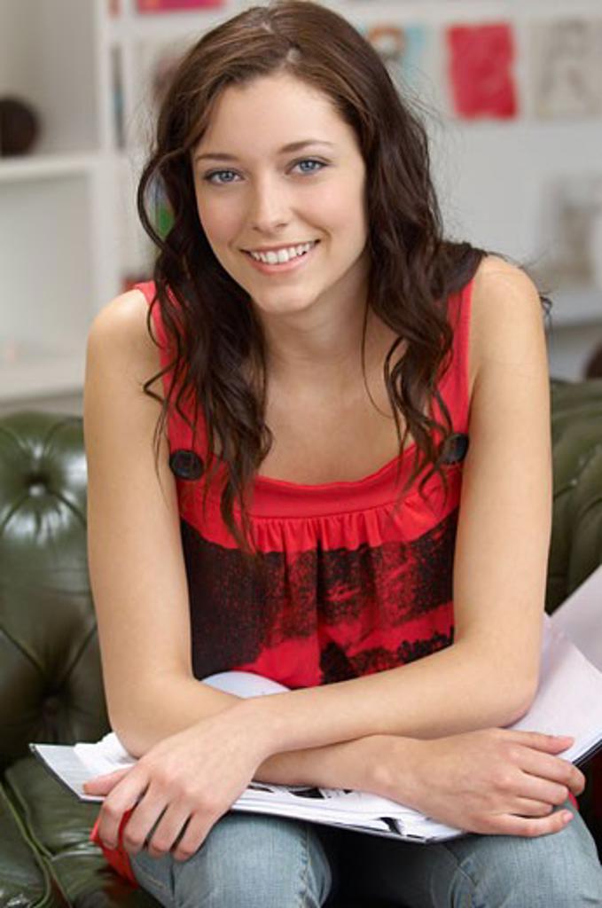 Woman on Sofa    : Stock Photo