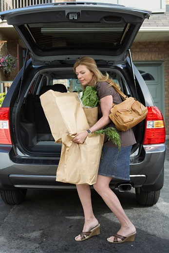 Woman Removing Groceries from Car    : Stock Photo