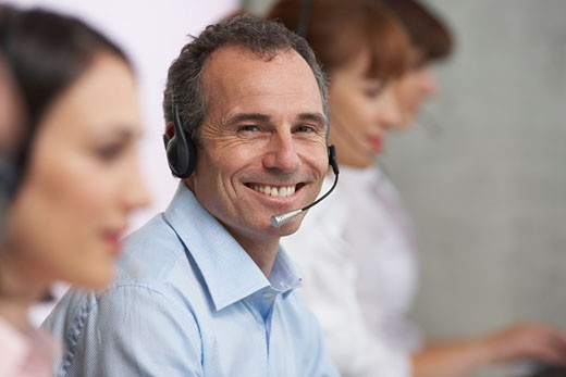Stock Photo: 1828R-28204 Businessman with Headset