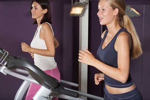 Stock Photo: 1828R-28318 Women Working Out on Treadmills