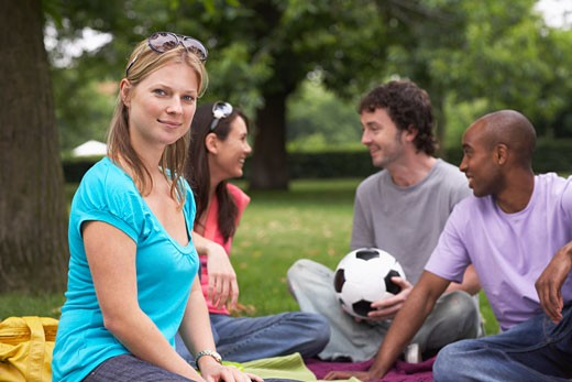 Stock Photo: 1828R-28698 Friends Sitting Outdoors