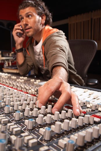 Stock Photo: 1828R-28836 Man Working in Recording Studio